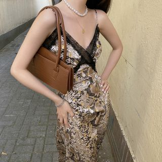 Kachin - Spaghetti Strap Snake Skin Print Midi A-Line Dress