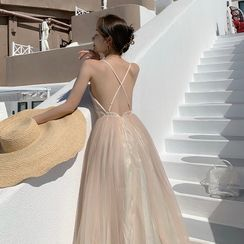 Dicezone - Strappy Midi A-Line Party Dress