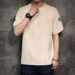 Alvicio - Ribbed Applique Short-Sleeve T-Shirt