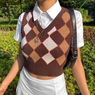 WEEKEND BLOOPERS - Color-Block Argyle V-Neck Knit Vest