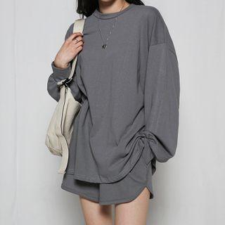 MERONGSHOP - Set: Oversized Sweatshirt + Shorts