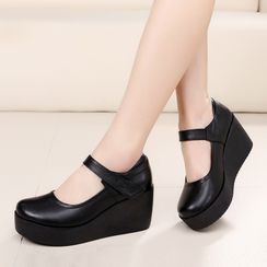 Obelie(オベリー) - Platform Wedge Mary Jane Shoes