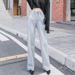 COOLIN - 字母刺繡寬腿牛仔褲