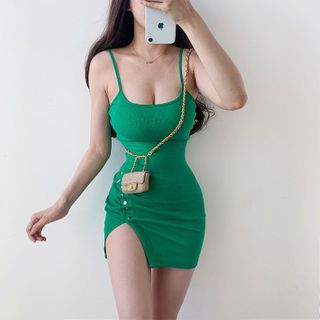 Ohnana - Side-Slit Spaghetti Strap Mini Sheath Dress