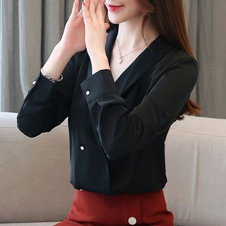 Dragan Pulse - Double-Breasted Chiffon Blouse