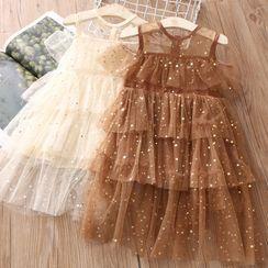Seashells Kids - Kids Cold-Shoulder Sequined Mesh Layered Dress