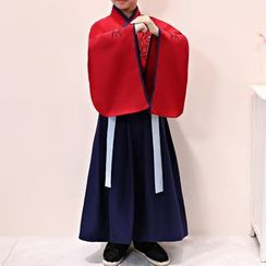 Snow Hymn - Kids Hanfu Set: Embroidered Top + Maxi Skirt