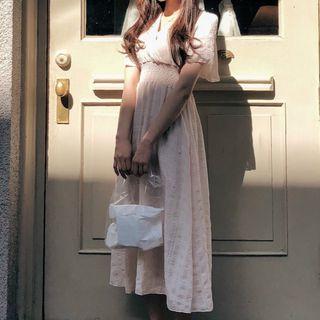 Leoom - Short-Sleeve Midi A-Line Dress
