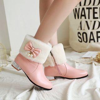 Cinnabelle - 仿毛拼接低跟及踝靴