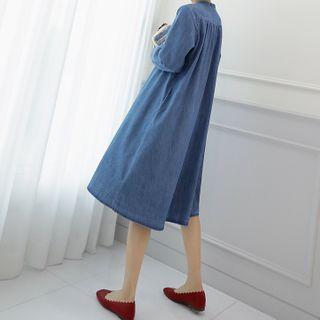 Lemite - Button-Through Denim Shift Dress in 2 Designs