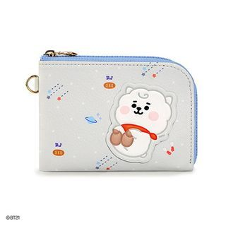 BABOSARANG - 'BT21' Patterned L-Zip Card Wallet with Sticker