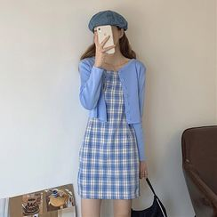 Omolon - 細肩帶格子迷你塑身連衣裙 / 純色鈕扣開衫