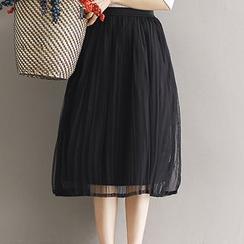 Ashlee - Pleated Mesh Midi Skirt