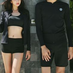 Binoche - Couple Matching Set: Zip Rash Guard + Swim Shorts