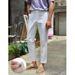 GERIO - Linen Blend Straight-Cut Dress Pants