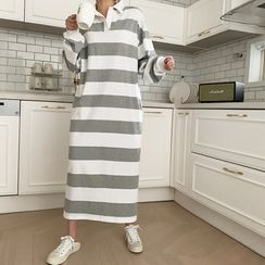 NANING9 - Stripe Long Polo Shirtdress