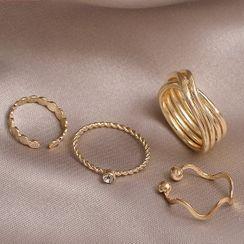 STYLIA - 四件套裝: 合金開口戒指 (多款設計)