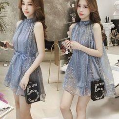 Tiny Times - Glitter Sleeveless Tie-Waist Mini Dress