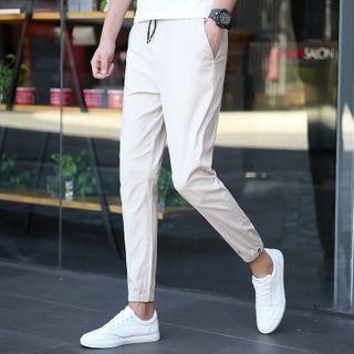 Ayuyel - Drawstring High-Waist Slim Fit Pants