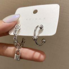 LIVSIA - Non-Matching Lock Drop Earring