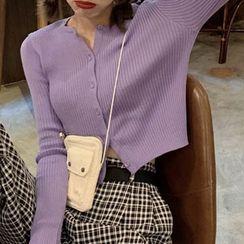 Magimomo - Plain Ribbed Long-Sleeved Cardigan