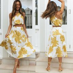 Ferola - Set: Floral Sleeveless Top + Midi A-Line Skirt