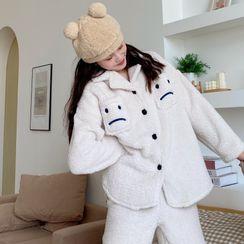 NekNem - Pajama Set: Embroidered Fleece Shirt + Pants