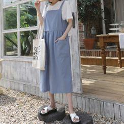 DANI LOVE - Pocket-Detail Denim Suspender Dress
