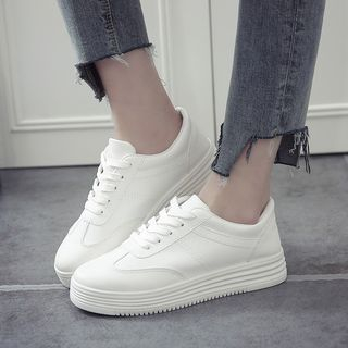 Shusi - Faux Leather Platform Sneakers