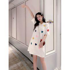 Jakart - Short-Sleeve Heart Embroidered Mini A-Line Polo Dress