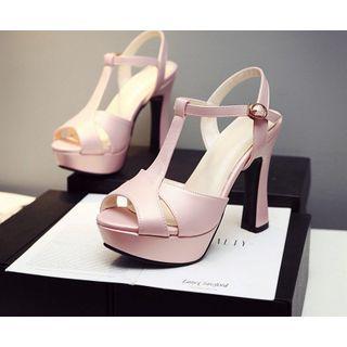 Cinnabelle - Platform Block Heel Ankle Strap Sandals
