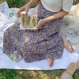 MERONGSHOP - Floral Long Flare Skirt