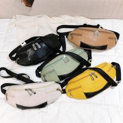 Diamante - Contrast Color Panel Zipper Accent Belt Bag