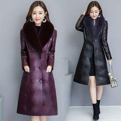 Sienne - Genuine Leather Furry Trim Coat