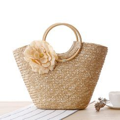 STYLE CICI - Flower Applique Woven Tote Bag