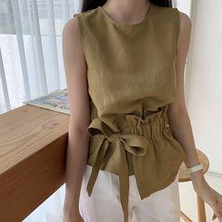 MIKIGA - 纯色圆领不对称腰结带无袖衬衫