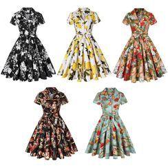 Sishion - Short-Sleeve Printed A-Line Collared Dress