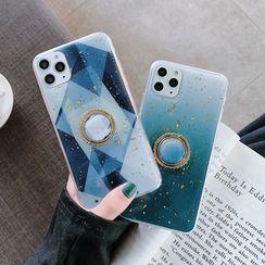 CeLLEAGUE - Gold Leaf Ring Stand Mobile Case - iPhone 11 Pro Max / 11 Pro / 11 / XS Max / XS / XR / X / 8 / 8 Plus / 7 / 7 Plus / 6s / 6s Plus