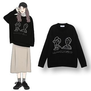 Demain - Cartoon Print Sweater