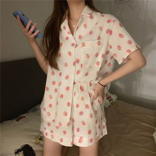 ELVUS - Pajama Set: Short-Sleeve Strawberry Print Shirt + Shorts