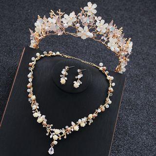 la Himi - 婚礼套装: 仿水晶花朵皇冠 + 项链 + 耳坠