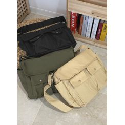 JOGUNSHOP - Flap-Pocket Canvas Cross Bag