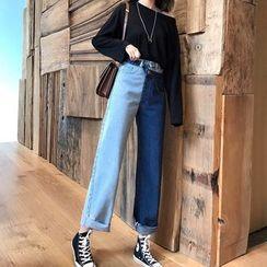 ROAM - High-Waist Two-Tone Wide-Leg Jeans
