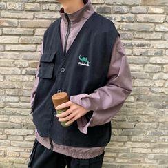 Naideth - Mock Two-Piece Printed Zip Jacket