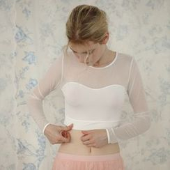 So Bliss - Long-Sleeve Mesh Crop Shaping Top