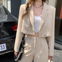 MAVE - Plain Cropped Blazer Top / Shift Blazer Pants