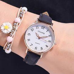 Momento - 套装: 真皮带式手表 + 花朵手链