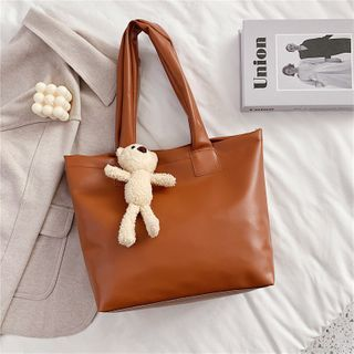 Lizzy - Faux Leather Tote Bag / Teddy Bear / Set