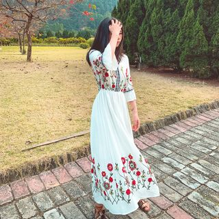 Fancy Show - Bell-Sleeve Embroidered Maxi A-Line Dress