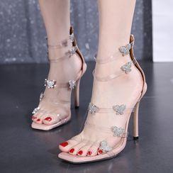 Niuna - Stiletto Heel Rhinestone Butterfly Sandals
